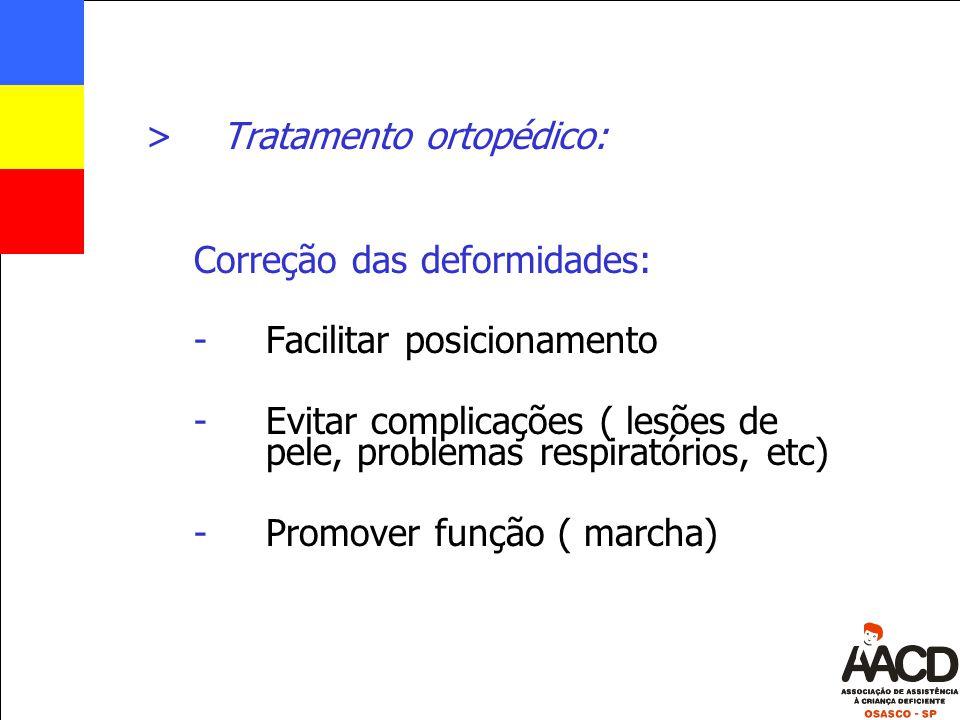>Tratamento ortopédico: Correção das deformidades: -Facilitar posicionamento -Evitar complicações ( lesões de pele, problemas respiratórios, etc) -Pro