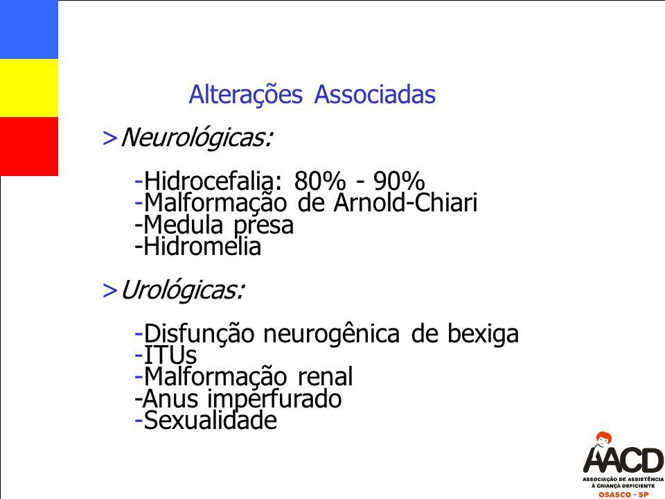 Alterações Associadas >Neurológicas: -Hidrocefalia: 80% - 90% -Malformação de Arnold-Chiari -Medula presa -Hidromelia >Urológicas: -Disfunção neurogên