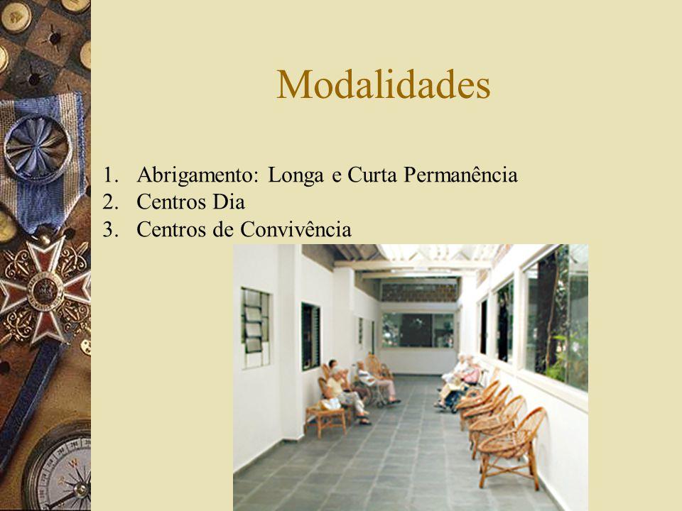 Modalidades 1.Abrigamento: Longa e Curta Permanência 2.Centros Dia 3. Centros de Convivência