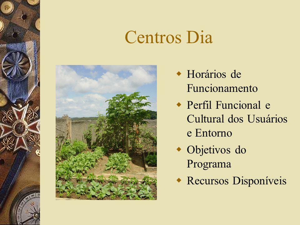 Centros Dia  Horários de Funcionamento  Perfil Funcional e Cultural dos Usuários e Entorno  Objetivos do Programa  Recursos Disponíveis