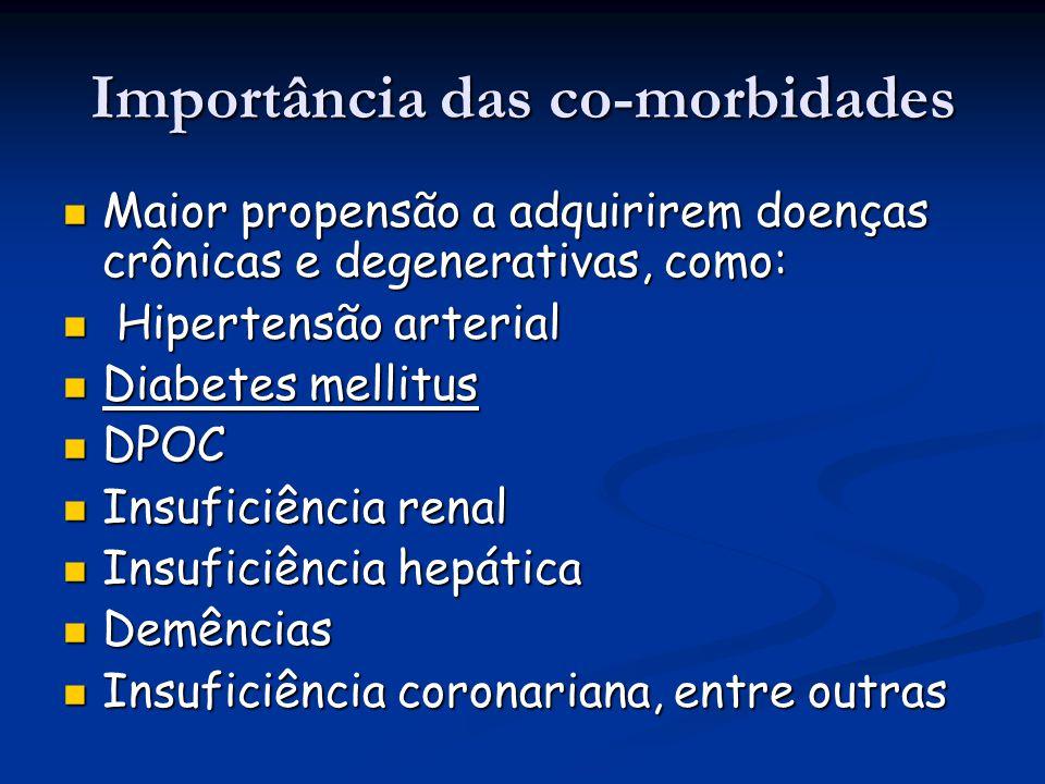 Importância das co-morbidades Maior propensão a adquirirem doenças crônicas e degenerativas, como: Maior propensão a adquirirem doenças crônicas e deg