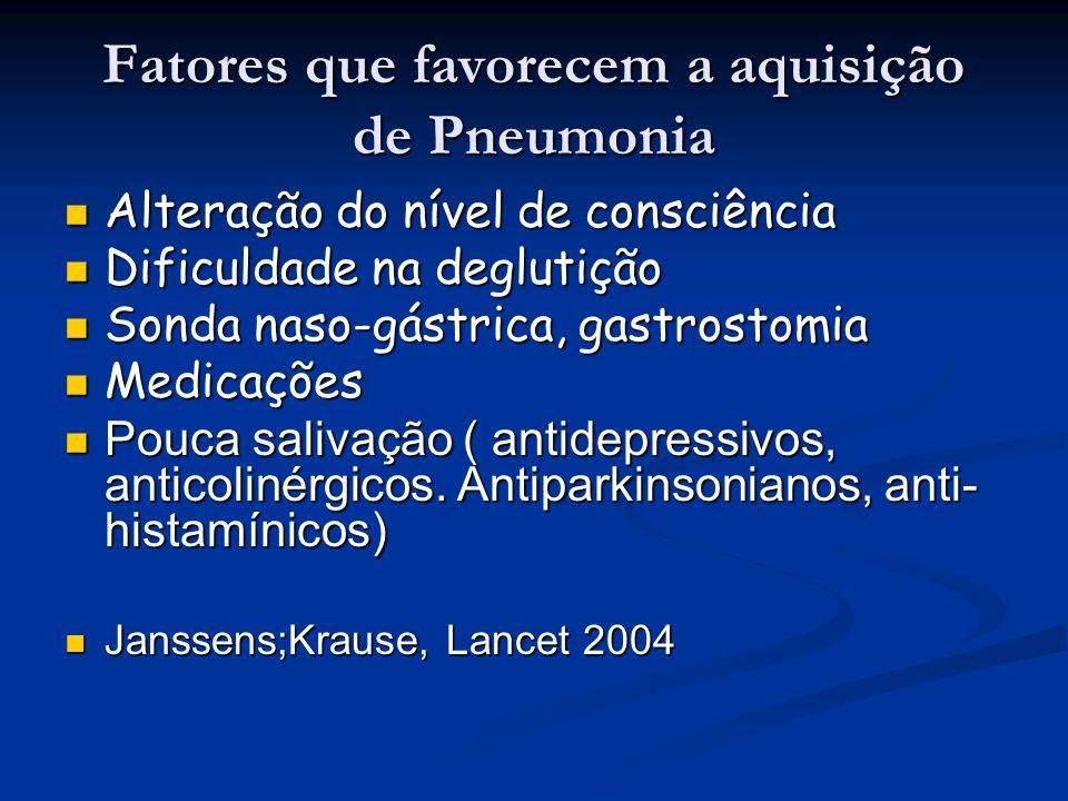 Fatores que favorecem a aquisição de Pneumonia Alteração do nível de consciência Alteração do nível de consciência Dificuldade na deglutição Dificulda