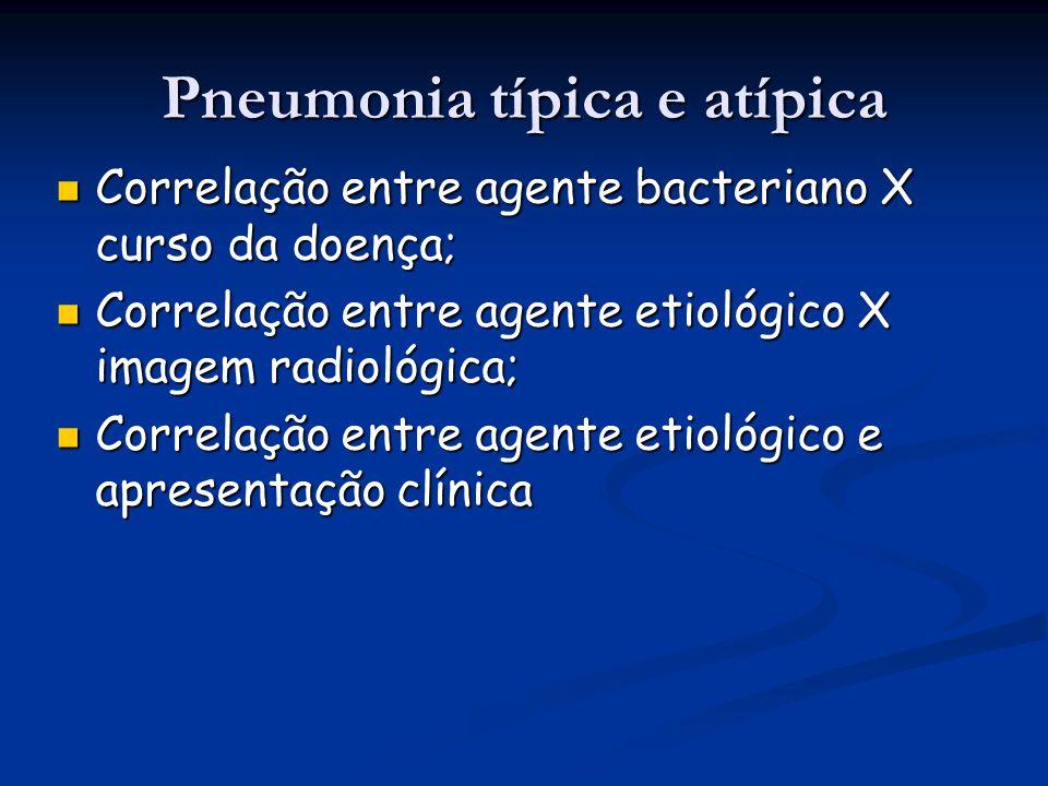 Pneumonia típica e atípica Correlação entre agente bacteriano X curso da doença; Correlação entre agente bacteriano X curso da doença; Correlação entr