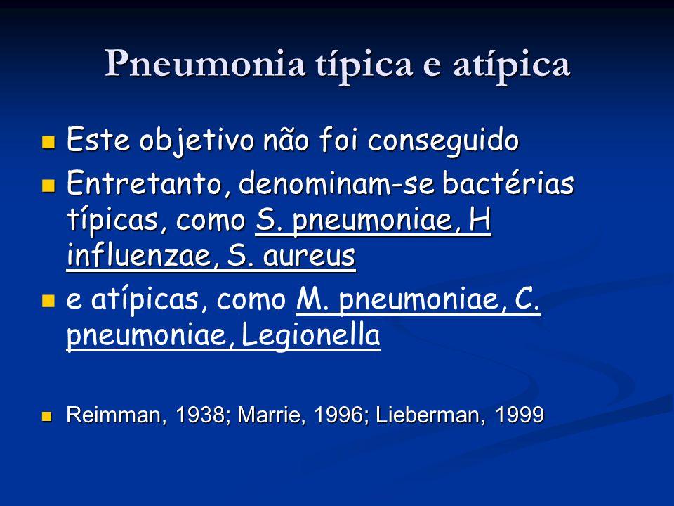 Pneumonia típica e atípica Este objetivo não foi conseguido Este objetivo não foi conseguido Entretanto, denominam-se bactérias típicas, como S. pneum