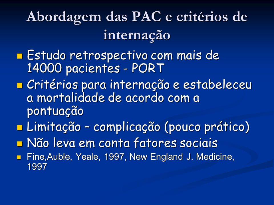 Abordagem das PAC e critérios de internação Estudo retrospectivo com mais de 14000 pacientes - PORT Estudo retrospectivo com mais de 14000 pacientes -