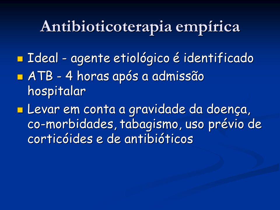 Antibioticoterapia empírica Ideal - agente etiológico é identificado Ideal - agente etiológico é identificado ATB - 4 horas após a admissão hospitalar