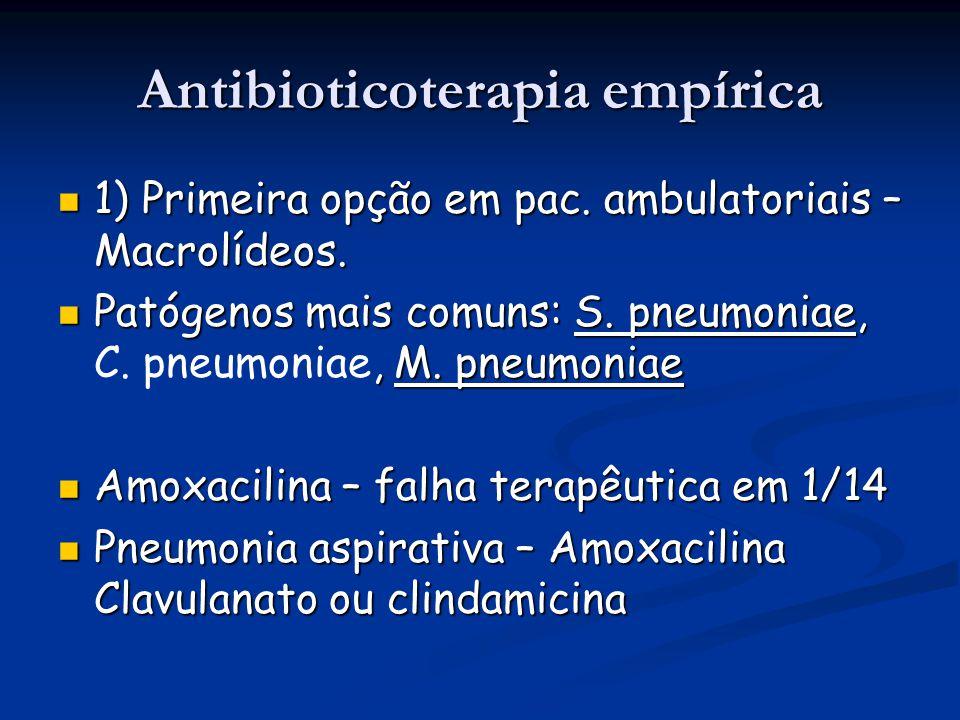 Antibioticoterapia empírica 1) Primeira opção em pac. ambulatoriais – Macrolídeos. 1) Primeira opção em pac. ambulatoriais – Macrolídeos. Patógenos ma