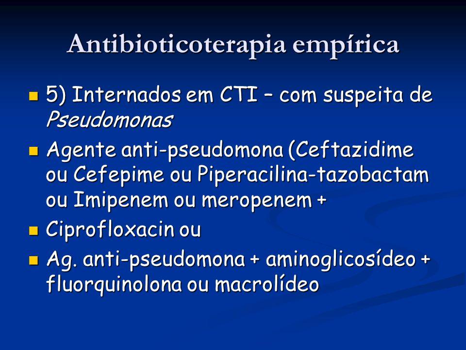 Antibioticoterapia empírica 5) Internados em CTI – com suspeita de Pseudomonas 5) Internados em CTI – com suspeita de Pseudomonas Agente anti-pseudomo