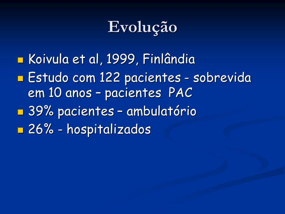 Evolução Koivula et al, 1999, Finlândia Koivula et al, 1999, Finlândia Estudo com 122 pacientes - sobrevida em 10 anos – pacientes PAC Estudo com 122