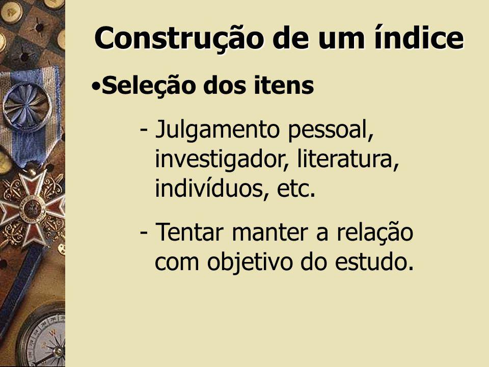 Construção de um índice Seleção dos itens - Julgamento pessoal, investigador, literatura, indivíduos, etc. - Tentar manter a relação com objetivo do e