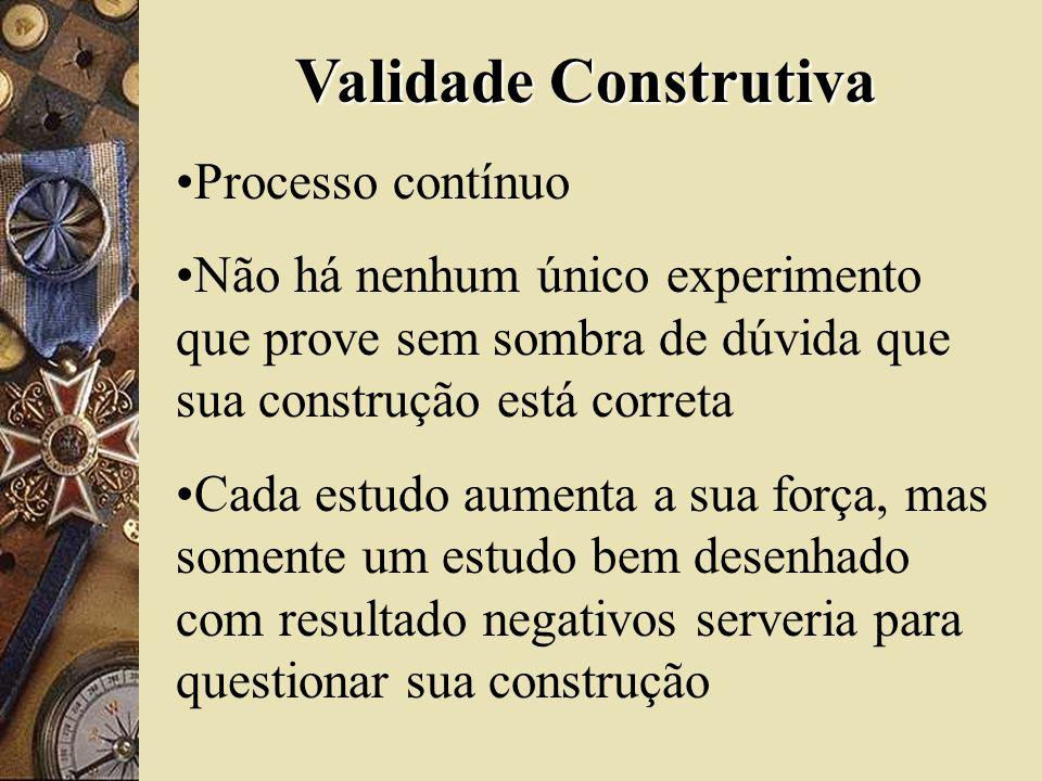 Validade Construtiva Processo contínuo Não há nenhum único experimento que prove sem sombra de dúvida que sua construção está correta Cada estudo aume
