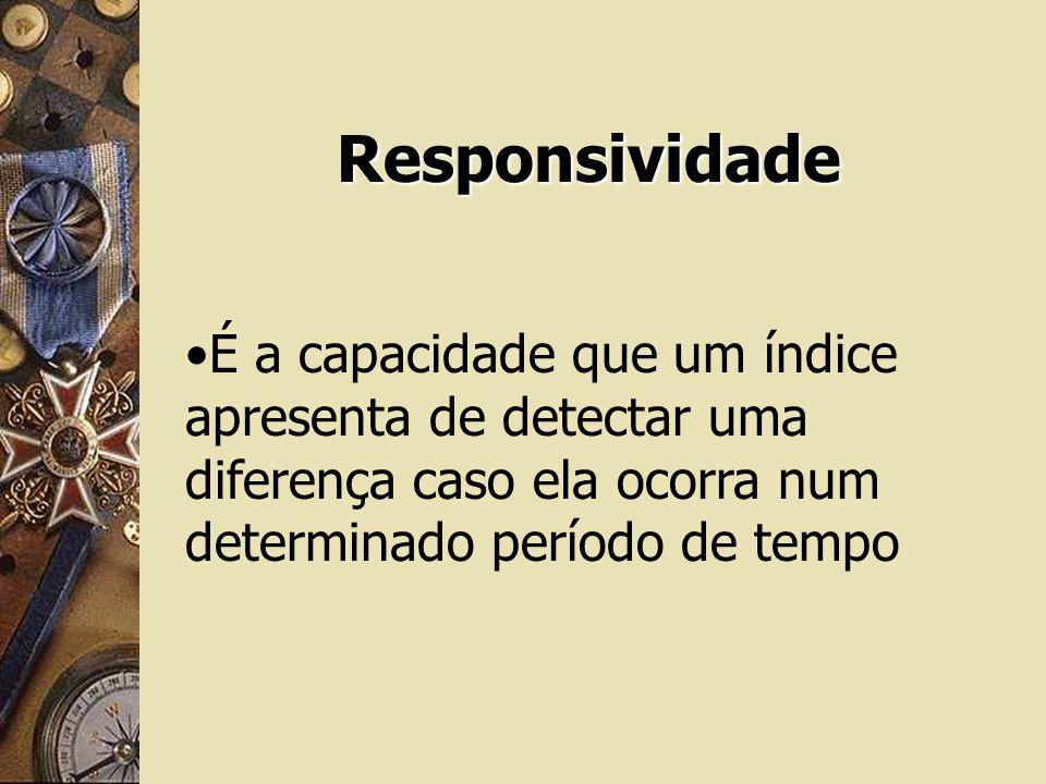 Responsividade É a capacidade que um índice apresenta de detectar uma diferença caso ela ocorra num determinado período de tempo