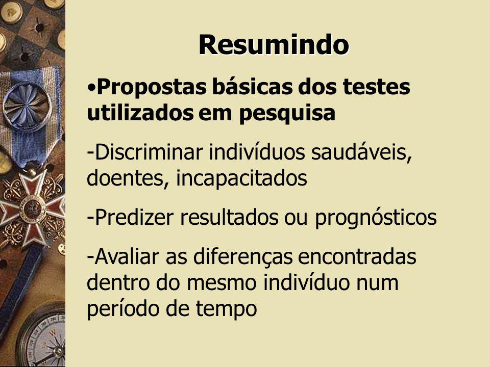 Resumindo Propostas básicas dos testes utilizados em pesquisa -Discriminar indivíduos saudáveis, doentes, incapacitados -Predizer resultados ou prognó