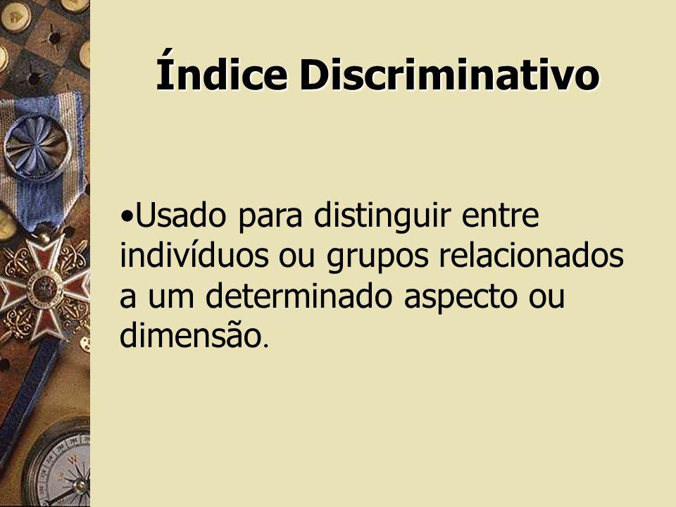 Índice Discriminativo Usado para distinguir entre indivíduos ou grupos relacionados a um determinado aspecto ou dimensão.