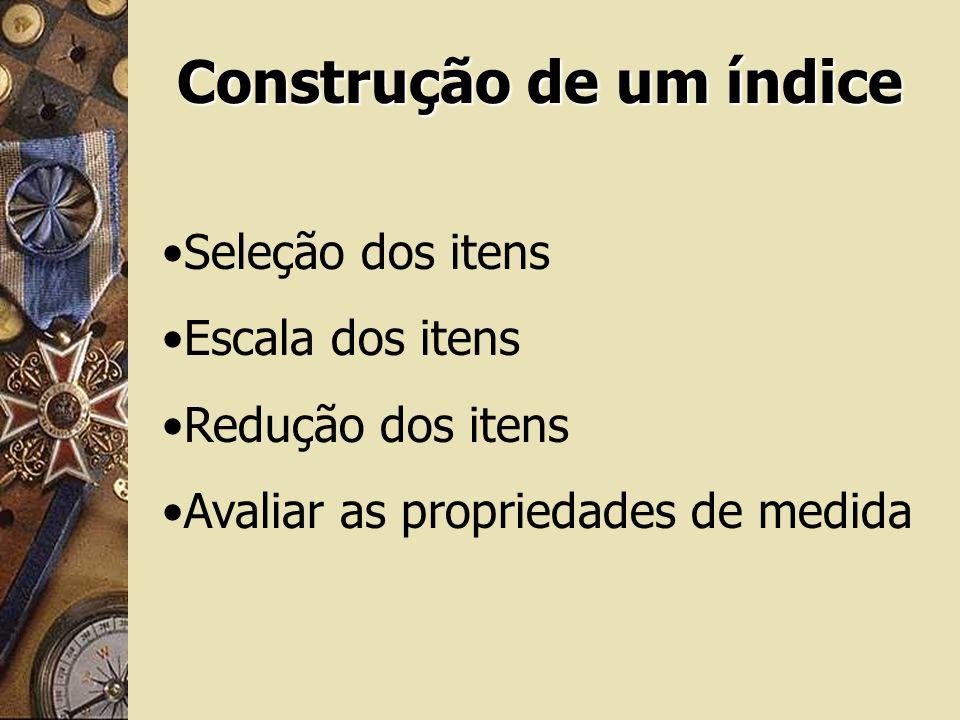 Construção de um índice Seleção dos itens Escala dos itens Redução dos itens Avaliar as propriedades de medida