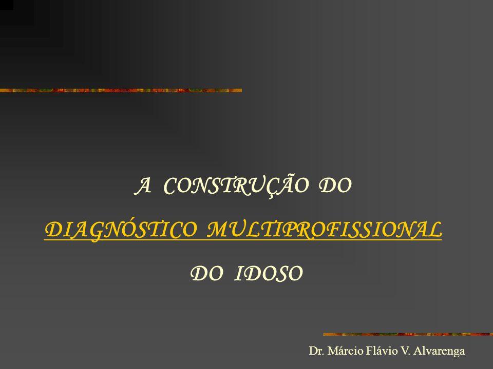 A CONSTRUÇÃO DO DIAGNÓSTICO MULTIPROFISSIONAL DO IDOSO Dr. Márcio Flávio V. Alvarenga