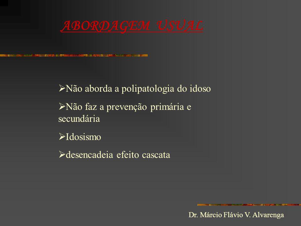 ABORDAGEM USUAL  Não aborda a polipatologia do idoso  Não faz a prevenção primária e secundária  Idosismo  desencadeia efeito cascata Dr. Márcio F