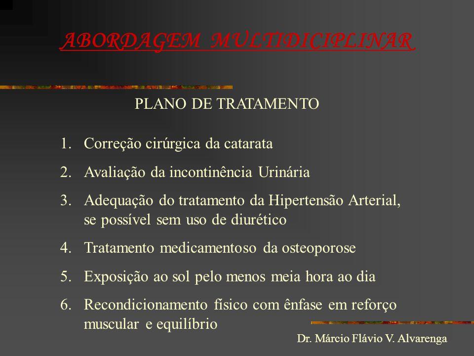 ABORDAGEM MULTIDICIPLINAR PLANO DE TRATAMENTO 1.Correção cirúrgica da catarata 2.Avaliação da incontinência Urinária 3.Adequação do tratamento da Hipe