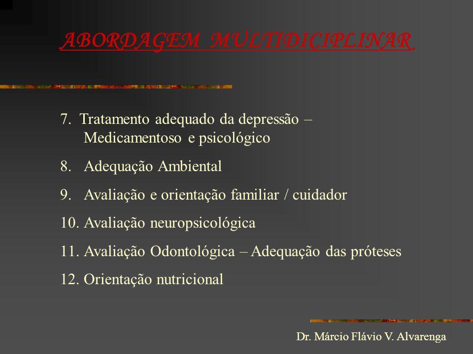ABORDAGEM MULTIDICIPLINAR 7. Tratamento adequado da depressão – Medicamentoso e psicológico 8.Adequação Ambiental 9.Avaliação e orientação familiar /