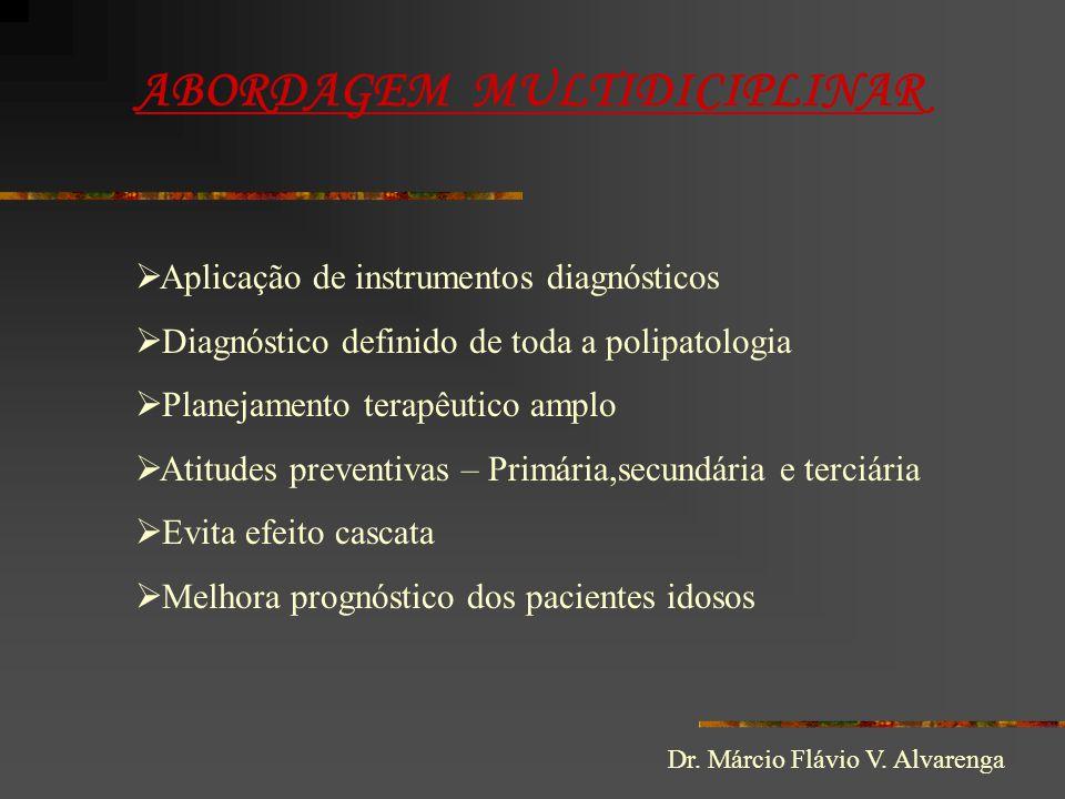 ABORDAGEM MULTIDICIPLINAR  Aplicação de instrumentos diagnósticos  Diagnóstico definido de toda a polipatologia  Planejamento terapêutico amplo  A