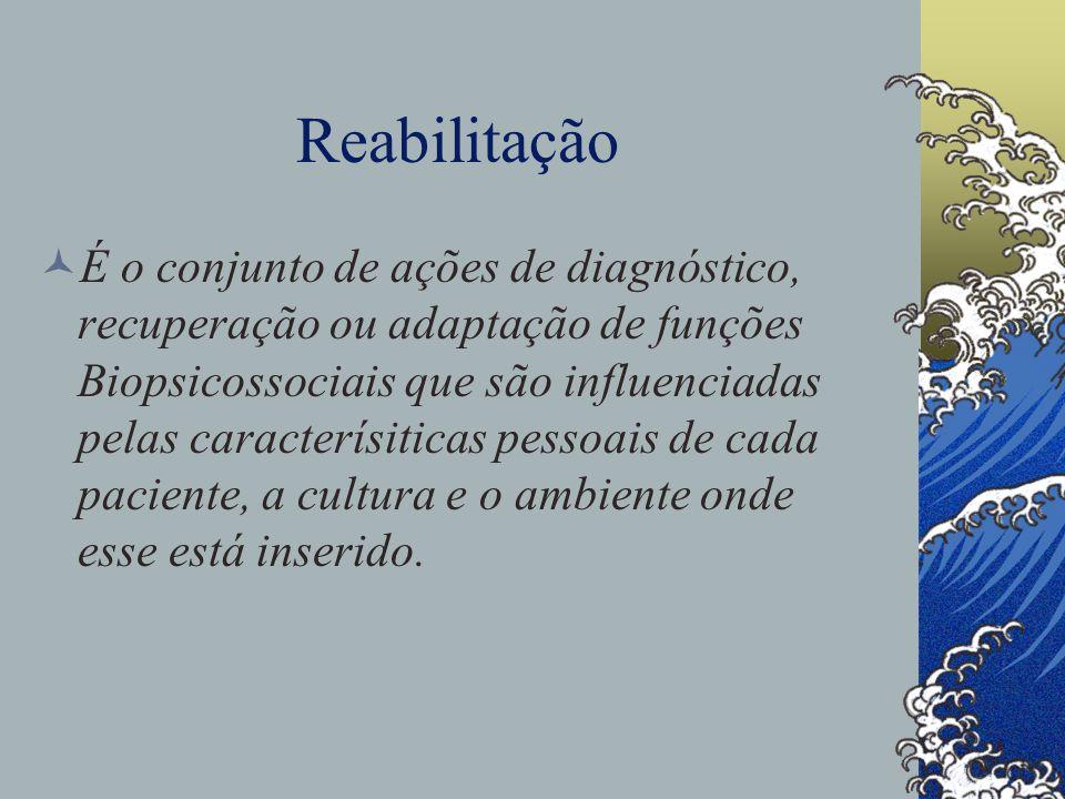 Reabilitação É o conjunto de ações de diagnóstico, recuperação ou adaptação de funções Biopsicossociais que são influenciadas pelas caracterísiticas pessoais de cada paciente, a cultura e o ambiente onde esse está inserido.