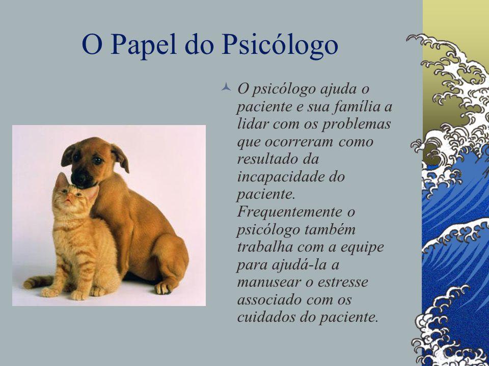 O Papel do Psicólogo O psicólogo ajuda o paciente e sua família a lidar com os problemas que ocorreram como resultado da incapacidade do paciente.