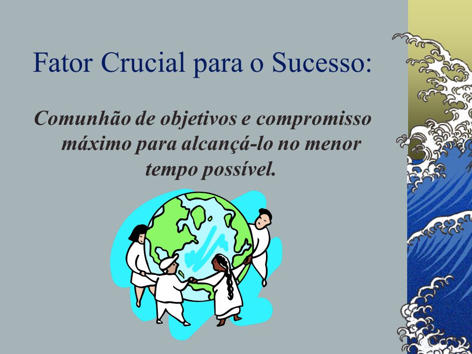 Fator Crucial para o Sucesso: Comunhão de objetivos e compromisso máximo para alcançá-lo no menor tempo possível.