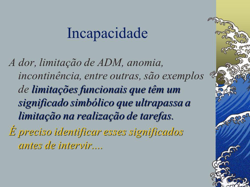 Incapacidade limitações funcionais que têm um significado simbólico que ultrapassa a limitação na realização de tarefas.