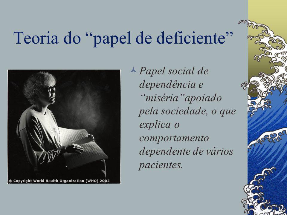 Teoria do papel de deficiente Papel social de dependência e miséria apoiado pela sociedade, o que explica o comportamento dependente de vários pacientes.
