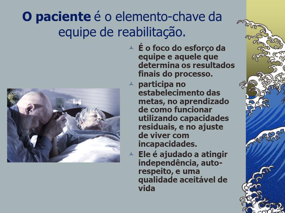 O paciente é o elemento-chave da equipe de reabilitação.