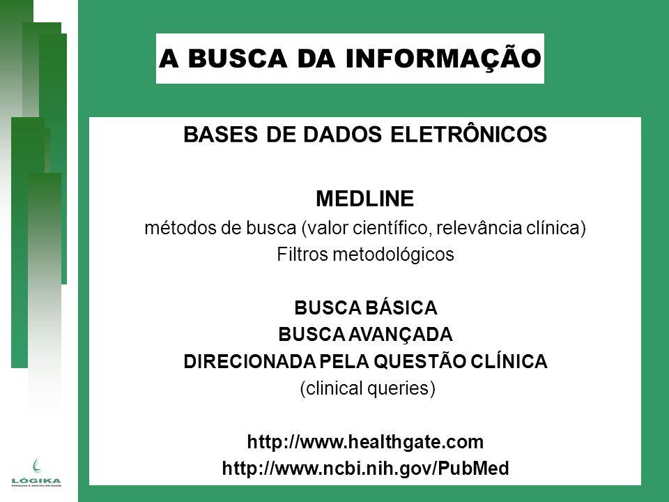 BASES DE DADOS ELETRÔNICOS MEDLINE métodos de busca (valor científico, relevância clínica) Filtros metodológicos BUSCA BÁSICA BUSCA AVANÇADA DIRECIONADA PELA QUESTÃO CLÍNICA (clinical queries) http://www.healthgate.com http://www.ncbi.nih.gov/PubMed A BUSCA DA INFORMAÇÃO