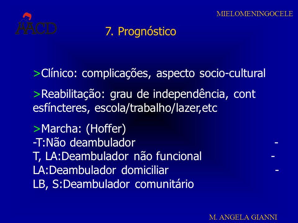 M. ANGELA GIANNI MIELOMENINGOCELE 7. Prognóstico >Clínico: complicações, aspecto socio-cultural >Reabilitação: grau de independência, cont esfíncteres