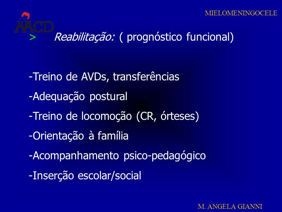 M. ANGELA GIANNI MIELOMENINGOCELE > Reabilitação: ( prognóstico funcional) -Treino de AVDs, transferências -Adequação postural -Treino de locomoção (C