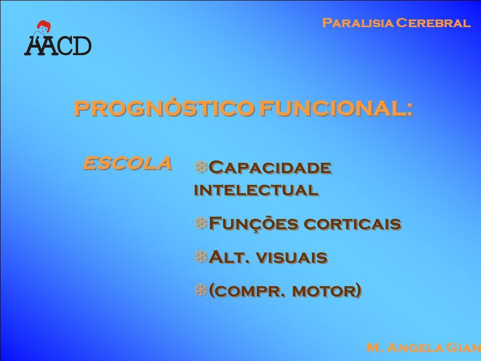 M. Angela Gianni Paralisia Cerebral PROGNÓSTICO FUNCIONAL: ESCOLA  Capacidade intelectual  Funções corticais  Alt. visuais  (compr. motor)  Capac