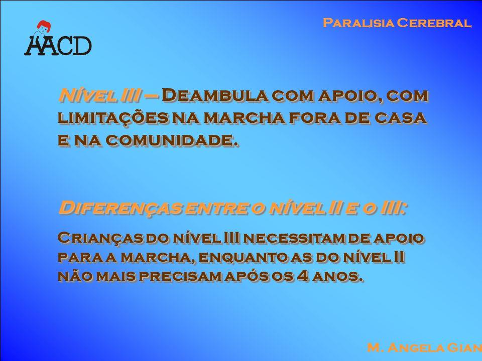 M. Angela Gianni Paralisia Cerebral Nível III – Deambula com apoio, com limitações na marcha fora de casa e na comunidade. Diferenças entre o nível II