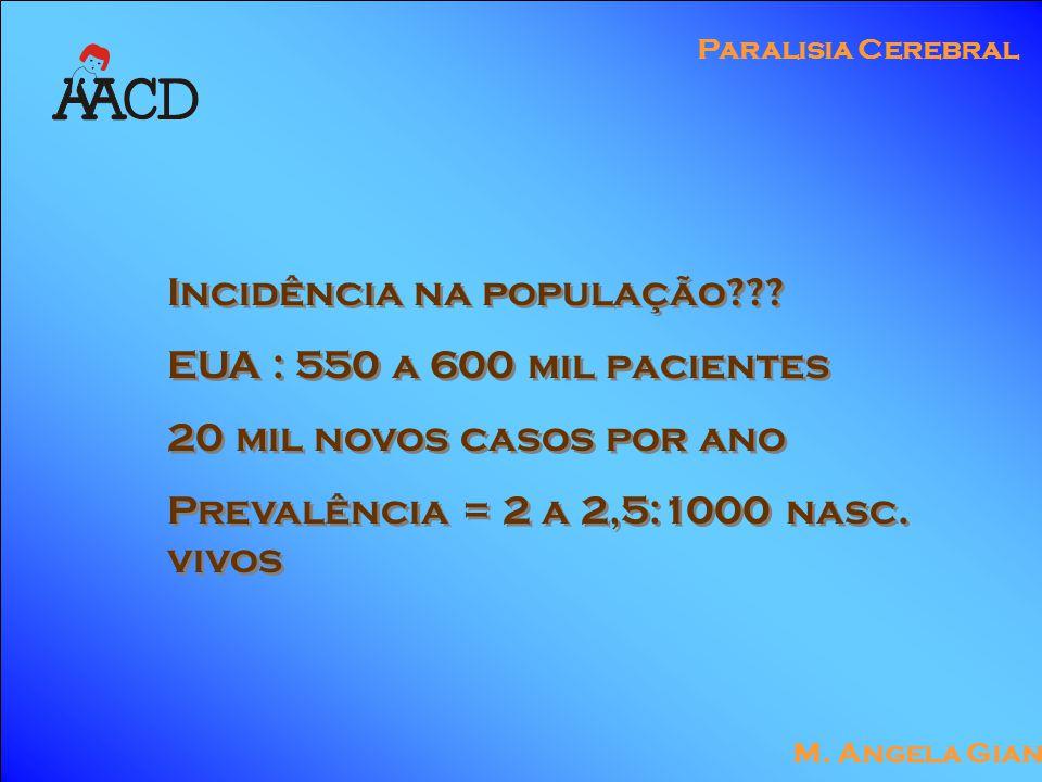 M. Angela Gianni Paralisia Cerebral Incidência na população .