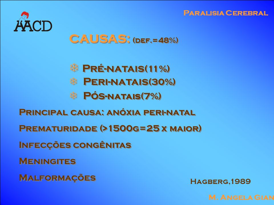 M. Angela Gianni Paralisia Cerebral CAUSAS: (def.=48%)  Pré-natais (11%)  Peri-natais (30%)  Pós- natais(7%) CAUSAS: (def.=48%)  Pré-natais (11%)