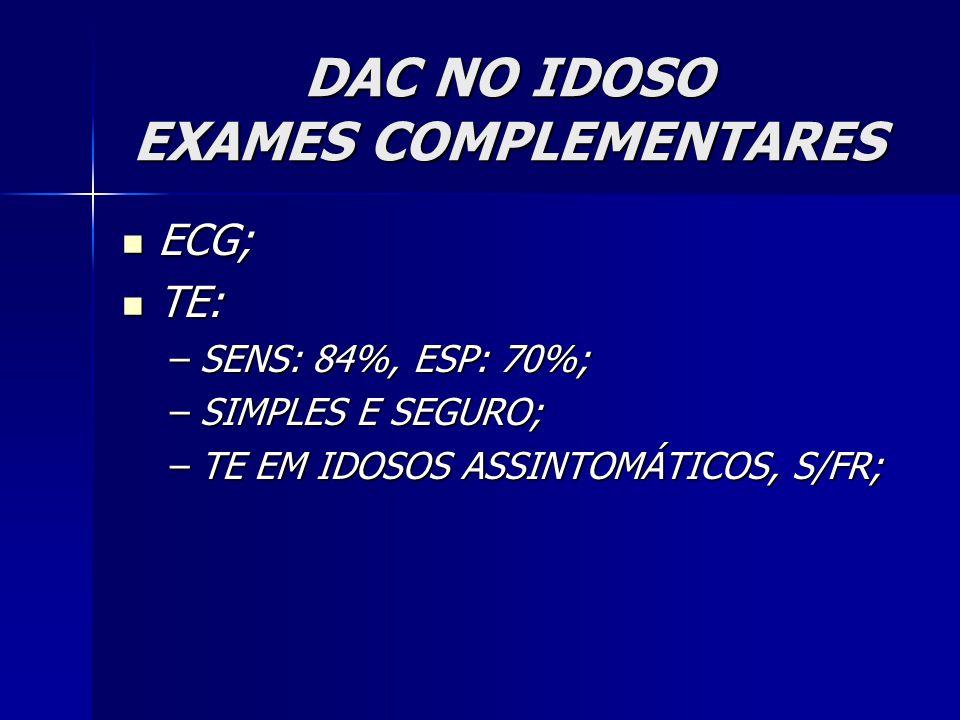 ECG; ECG; TE: TE: –SENS: 84%, ESP: 70%; –SIMPLES E SEGURO; –TE EM IDOSOS ASSINTOMÁTICOS, S/FR;
