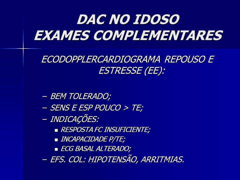 DAC NO IDOSO EXAMES COMPLEMENTARES ECODOPPLERCARDIOGRAMA REPOUSO E ESTRESSE (EE): –BEM TOLERADO; –SENS E ESP POUCO > TE; –INDICAÇÕES: RESPOSTA FC INSUFICIENTE; RESPOSTA FC INSUFICIENTE; INCAPACIDADE P/TE; INCAPACIDADE P/TE; ECG BASAL ALTERADO; ECG BASAL ALTERADO; –EFS.