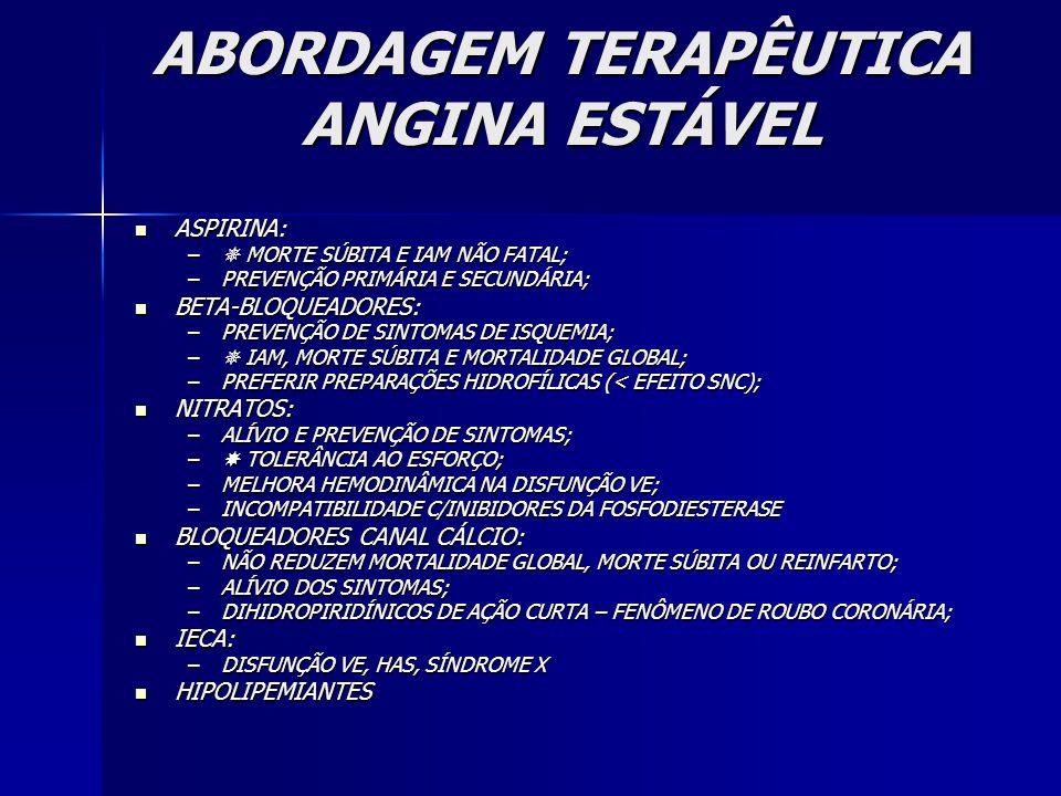 ABORDAGEM TERAPÊUTICA ANGINA ESTÁVEL ASPIRINA: ASPIRINA: –  MORTE SÚBITA E IAM NÃO FATAL; –PREVENÇÃO PRIMÁRIA E SECUNDÁRIA; BETA-BLOQUEADORES: BETA-BLOQUEADORES: –PREVENÇÃO DE SINTOMAS DE ISQUEMIA; –  IAM, MORTE SÚBITA E MORTALIDADE GLOBAL; –PREFERIR PREPARAÇÕES HIDROFÍLICAS (< EFEITO SNC); NITRATOS: NITRATOS: –ALÍVIO E PREVENÇÃO DE SINTOMAS; –  TOLERÂNCIA AO ESFORÇO; –MELHORA HEMODINÂMICA NA DISFUNÇÃO VE; –INCOMPATIBILIDADE C/INIBIDORES DA FOSFODIESTERASE BLOQUEADORES CANAL CÁLCIO: BLOQUEADORES CANAL CÁLCIO: –NÃO REDUZEM MORTALIDADE GLOBAL, MORTE SÚBITA OU REINFARTO; –ALÍVIO DOS SINTOMAS; –DIHIDROPIRIDÍNICOS DE AÇÃO CURTA – FENÔMENO DE ROUBO CORONÁRIA; IECA: IECA: –DISFUNÇÃO VE, HAS, SÍNDROME X HIPOLIPEMIANTES HIPOLIPEMIANTES