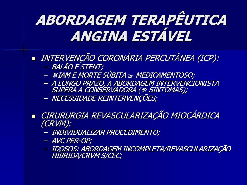 ABORDAGEM TERAPÊUTICA ANGINA ESTÁVEL INTERVENÇÃO CORONÁRIA PERCUTÂNEA (ICP): INTERVENÇÃO CORONÁRIA PERCUTÂNEA (ICP): –BALÃO E STENT; –  IAM E MORTE SÚBITA  MEDICAMENTOSO; –A LONGO PRAZO, A ABORDAGEM INTERVENCIONISTA SUPERA A CONSERVADORA (  SINTOMAS); –NECESSIDADE REINTERVENÇÕES; CIRURURGIA REVASCULARIZAÇÃO MIOCÁRDICA (CRVM): CIRURURGIA REVASCULARIZAÇÃO MIOCÁRDICA (CRVM): –INDIVIDUALIZAR PROCEDIMENTO; –AVC PER-OP; –IDOSOS: ABORDAGEM INCOMPLETA/REVASCULARIZAÇÃO HÍBRIDA/CRVM S/CEC;