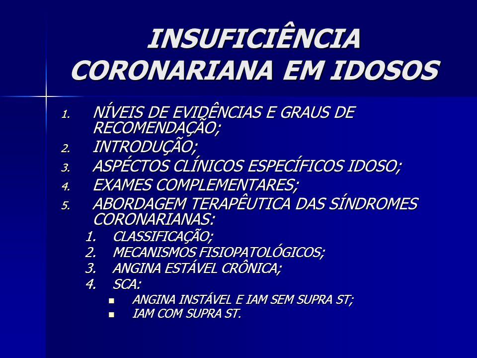 INSUFICIÊNCIA CORONARIANA EM IDOSOS 1. NÍVEIS DE EVIDÊNCIAS E GRAUS DE RECOMENDAÇÃO; 2. INTRODUÇÃO; 3. ASPÉCTOS CLÍNICOS ESPECÍFICOS IDOSO; 4. EXAMES