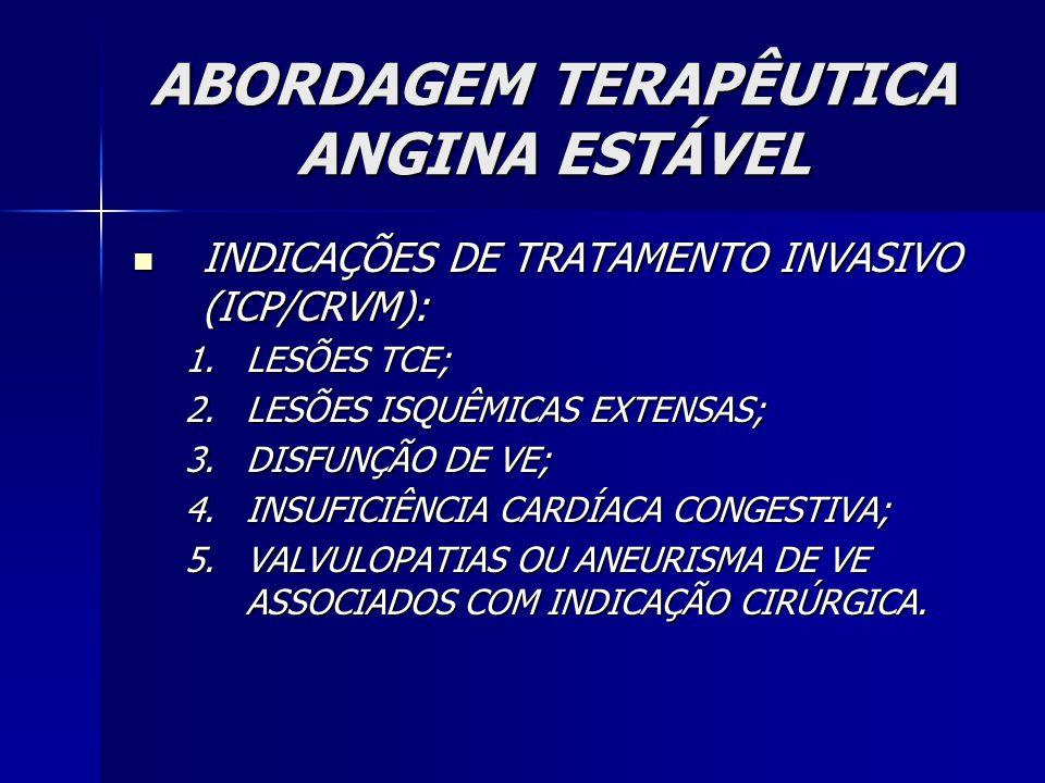 INDICAÇÕES DE TRATAMENTO INVASIVO (ICP/CRVM): INDICAÇÕES DE TRATAMENTO INVASIVO (ICP/CRVM): 1.LESÕES TCE; 2.LESÕES ISQUÊMICAS EXTENSAS; 3.DISFUNÇÃO DE VE; 4.INSUFICIÊNCIA CARDÍACA CONGESTIVA; 5.VALVULOPATIAS OU ANEURISMA DE VE ASSOCIADOS COM INDICAÇÃO CIRÚRGICA.