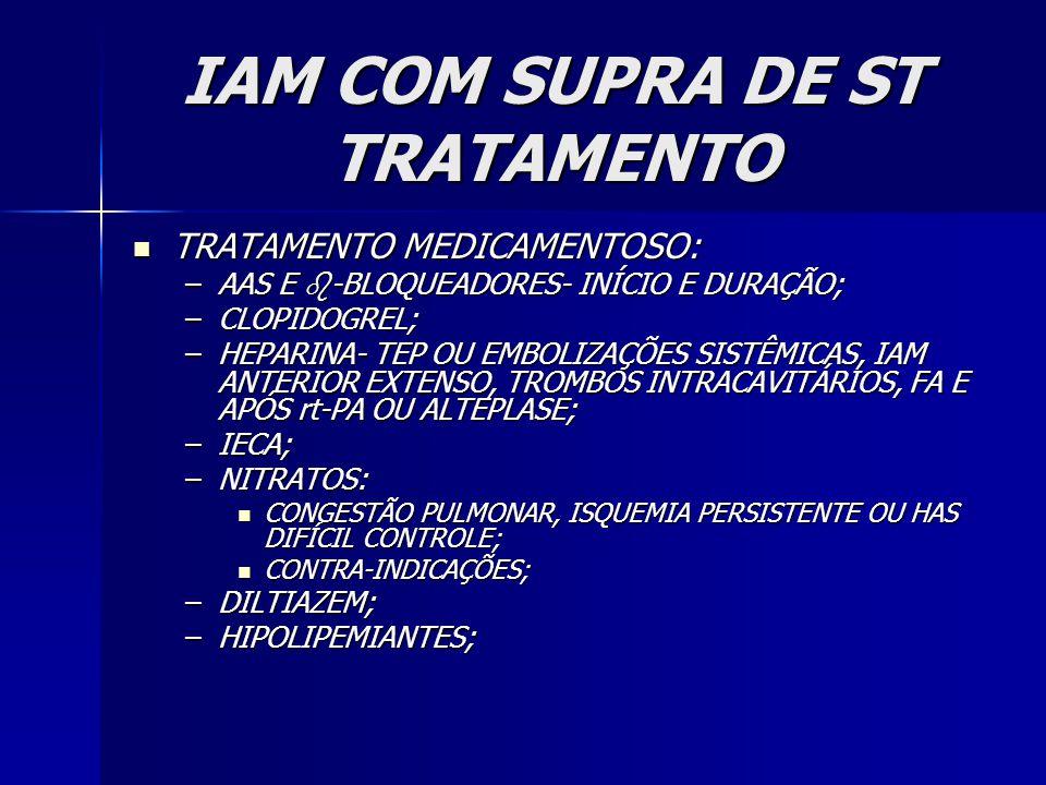 IAM COM SUPRA DE ST TRATAMENTO TRATAMENTO MEDICAMENTOSO: TRATAMENTO MEDICAMENTOSO: –AAS E  -BLOQUEADORES- INÍCIO E DURAÇÃO; –CLOPIDOGREL; –HEPARINA- TEP OU EMBOLIZAÇÕES SISTÊMICAS, IAM ANTERIOR EXTENSO, TROMBOS INTRACAVITÁRIOS, FA E APÓS rt-PA OU ALTEPLASE; –IECA; –NITRATOS: CONGESTÃO PULMONAR, ISQUEMIA PERSISTENTE OU HAS DIFÍCIL CONTROLE; CONGESTÃO PULMONAR, ISQUEMIA PERSISTENTE OU HAS DIFÍCIL CONTROLE; CONTRA-INDICAÇÕES; CONTRA-INDICAÇÕES; –DILTIAZEM; –HIPOLIPEMIANTES;