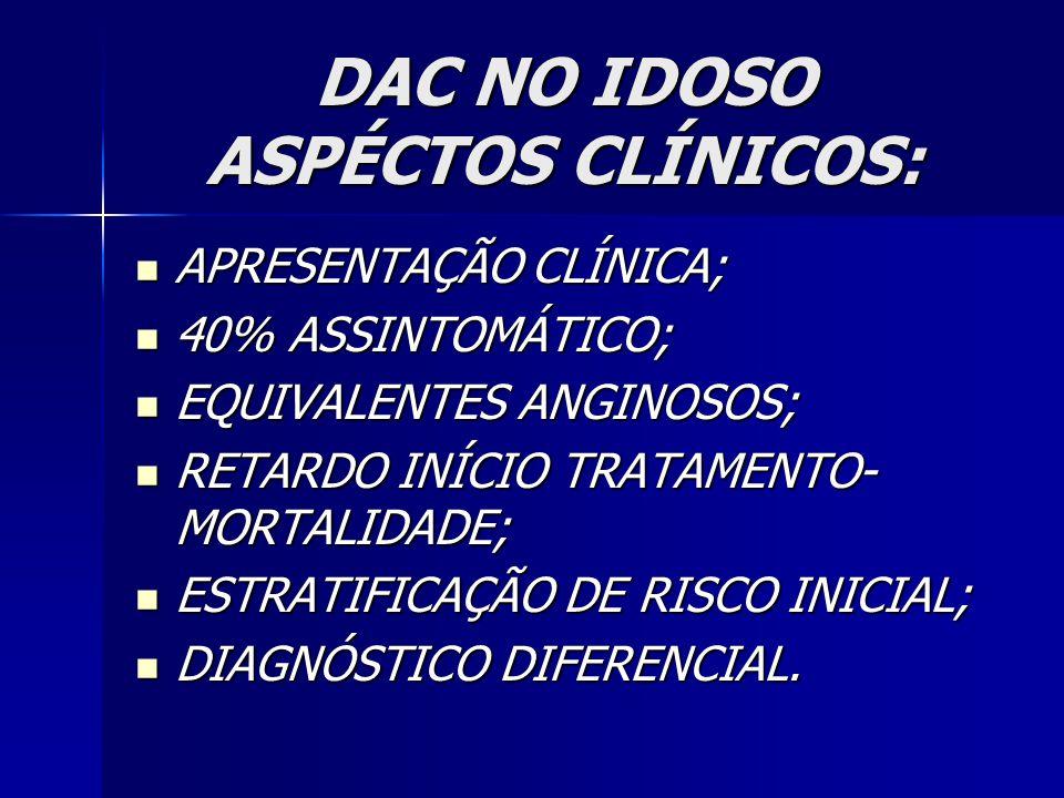 DAC NO IDOSO ASPÉCTOS CLÍNICOS: APRESENTAÇÃO CLÍNICA; APRESENTAÇÃO CLÍNICA; 40% ASSINTOMÁTICO; 40% ASSINTOMÁTICO; EQUIVALENTES ANGINOSOS; EQUIVALENTES