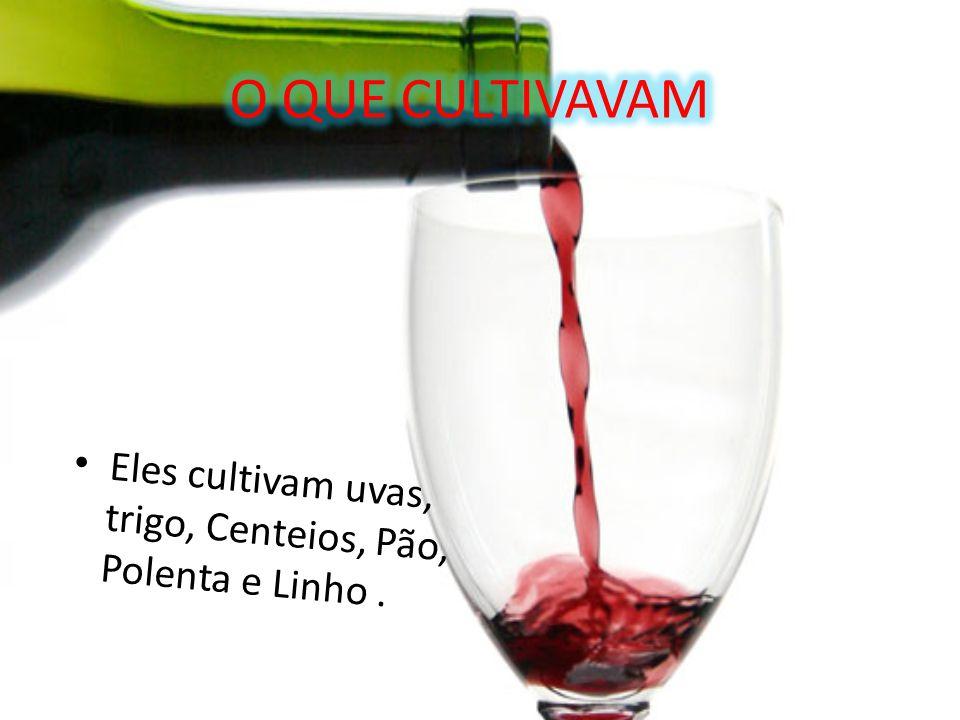 Eles cultivam uvas, trigo, Centeios, Pão, Polenta e Linho.