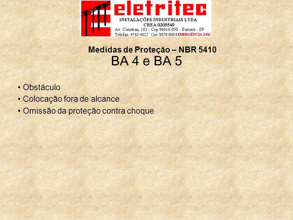 BA 4 e BA 5 Obstáculo Colocação fora de alcance Omissão da proteção contra choque Medidas de Proteção – NBR 5410