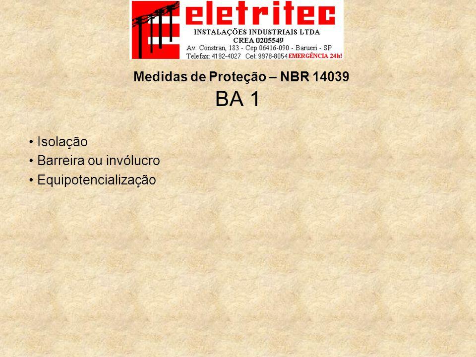 BA 1 Isolação Barreira ou invólucro Equipotencialização Medidas de Proteção – NBR 14039