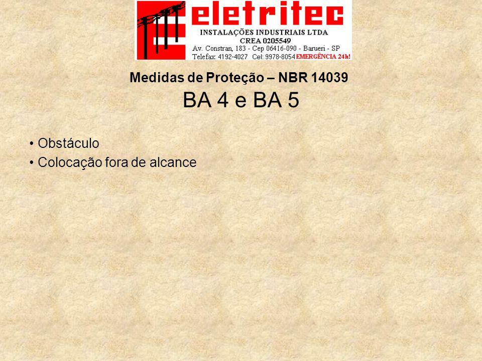 BA 4 e BA 5 Obstáculo Colocação fora de alcance Medidas de Proteção – NBR 14039