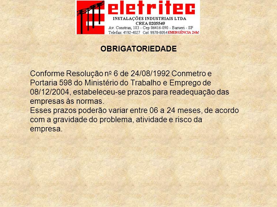 Conforme Resolução n o 6 de 24/08/1992 Conmetro e Portaria 598 do Ministério do Trabalho e Emprego de 08/12/2004, estabeleceu-se prazos para readequação das empresas às normas.